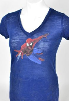 Spider-Man Blue Ladies V-neck Tee - $40  Ladies fitted v-neck burn out shirt. Spider-Man image on the front and Spider-Man Turn Off The Dark on the back.
