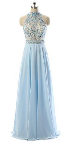 Dressylady Gorgeous Prom Dress 2017 High Neck Keyhole Long Chiffon Beaded Evening Gowns(4)