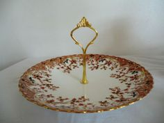 Beautiful Vintage Cake Stand. Rich Gold and Russet...for an Easter or Wedding Tea Party? Find this and lots more beautiful vintage china in my online Etsy shop, PrettyVintageHome.