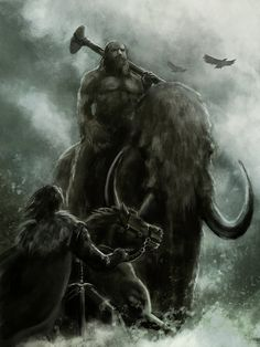 Epic giants riding Mammoths are epic.     http://fc06.deviantart.net/fs70/i/2012/018/6/2/a_song_of_ice_and_fire___the_giants_by_bakirasan-d4ltia9.jpg