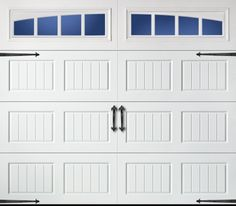 Amarr Carriage Bead Board Long Panel Arched Thames (True White) Garage Door