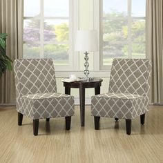 Shop for Portfolio Wylie Barley Tan Trellis Print Armless Chairs (Set of 2). Get free shipping at Overstock.com - Your Online Furniture Outlet Store! Get 5% in rewards with Club O!