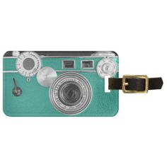 Sold! Thank you! Teal Vintage Camera Luggage Tag