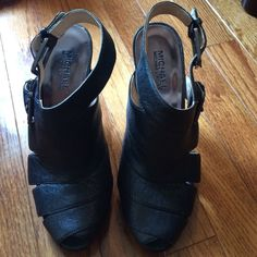 "Michael Kors Heels Leather upper. 4"" heel. Charcoal Grey. Peep Toe. 7.5. Michael Kors Shoes Heels"