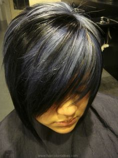gray highlights on black hair - Google Search