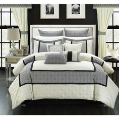 Chic Home 25-piece Aideen Quilted Embroidered Room in a Bag Comforter, Sheet and Window Set - Overstock Shopping - Great Deals on Chic Home Comforter Sets
