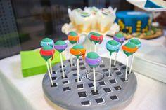 Ninja Turtle cake pops! Ninja Turtle themed birthday party via Kara's Party Ideas KarasPartyIdeas.com Printables, cakes, favors, invitation, and more! #TMNT #ninjaturtles