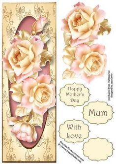 This lovely large DL sized topper features gorgeous pale pink roses on a golden frame. It has decoupage, three greetings and a blank greetings tile.