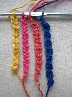 Simple Crochet Braid Trim - 4 variations on a chain stitch to create these great braids.