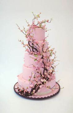 This beautiful flower blossom cake. | Community Post: 15 Ridiculously Stunning Nature Cakes That Are Almost Too Perfect To Eat