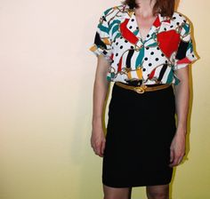Vintage Nautical Blouse with Gold Buttons- 80s Kathie Lee