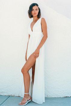 53e2f4706f Lulus   Heavenly Hues White Maxi Dress   Size Medium   100% Polyester