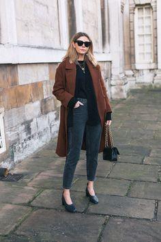 4fb5b761822 Emma Hill wears brown wool coat