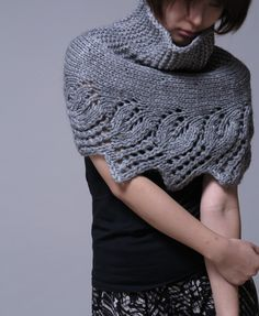 Hand knit capelet, poncho and neckwarmer in grey