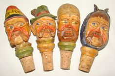 VINTAGE+ANRI+CARVED+WOOD+FIGURAL+FACE+STOPPERS+X+4+
