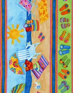 flip flop quilt pattern free | Flip Floppin Summer Stripe wendy-c9691-multi, $9.96 / yard