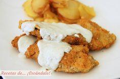 Receta de escalopines con salsa de cabrales, y patatas panaderas y manzana al membrillo