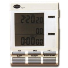 Triple timer and clock incorporating three 20 hour countdown timers and memory function. The triple timer features count up functionality in 1/100th of a second and a 12/24 hour clock.