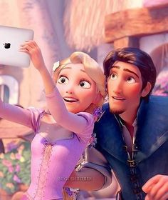 Rapunzel and Flynn Rider from Disney's Tangled. When something makes your girlfriend happy, of course you want to see what it is. Punk Disney, Disney Pixar, Heros Disney, Film Disney, Disney Couples, Disney And Dreamworks, Disney Animation, Disney Love, Disney Characters