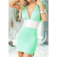Sexy Sleeveless Plunging Neck Lace-Up Design Packet Buttock  Mini Dress