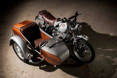 The ultimate Honda cafe racer, a Suzuki Savage with Nissan Leaf power, and a gorgeous BMW GS sidecar rig. Bmw Cafe Racer, Moto Cafe, Cafe Racers, Bmw Motorcycles, Custom Motorcycles, Custom Bikes, Bobber Custom, Scrambler Custom, Bike With Sidecar