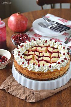 Cranberry-Pomegranate Swirled White Chocolate Cheesecake