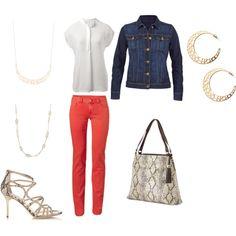 spring - colored pants and jean jacket www.stelladot.com/christinebaranowski