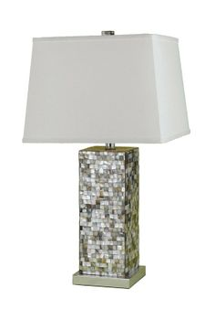 "View the AF Lighting 6671-TL Candice Olson ""Sahara"" Table Lamp with Linen Shade, Finished in Abalone Shell at Build.com."