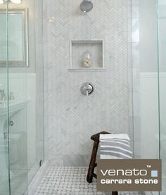 White Subway Tile With Glass Tile Decorative Band For