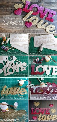 DIY Love Banners in Pink Ombré and Gold Glitter