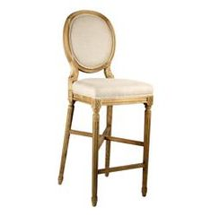 French Country Medallion Back Bar Light Linen Bar Stool Chinoiserie, Restauration Hardware, Trestle Dining Tables, Dining Chairs, Back Bar, Country Kitchen Designs, Office Seating, Modern Bar Stools, Sit Back And Relax