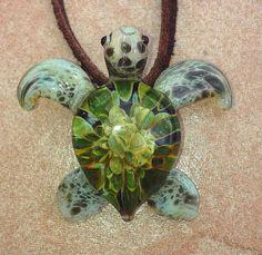 Baby sea turtle necklace glass beads pendant Handmade custom jewelry Lampwork beads Glass flowers Boro beads on Etsy, $20.00