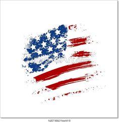 """Grunge American USA flag - splattered star and stripes"" - Art Print from FreeArt.com"