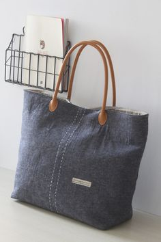 TOTE BAG/ Shoulder bag/ Shop bag/ Market bag/ Jean Blue/ Linen Bag/ Large Purse