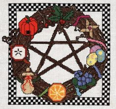 Sabbat Wreath  counted cross stitch CHART. $9.00, via Etsy.