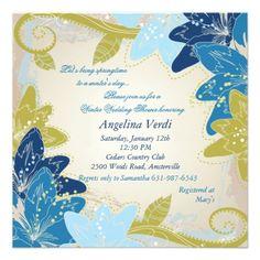 Blue Lilies Square Wedding Shower Invitation