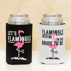 Adorable flamingo bachelorette party koozies - flamingle with me I'm the bride to be and let's flamingle black and pink koozies
