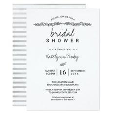 Simple Elegant Bridal Shower Invitation - customize create your own #personalize diy & cyo