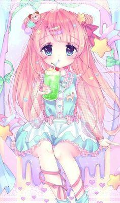 anime, loli, and art image Kawaii Chibi, Kawaii Art, Kawaii Anime Girl, Anime Art Girl, Cute Animal Drawings Kawaii, Kawaii Drawings, Cute Drawings, Cute Characters, Anime Characters