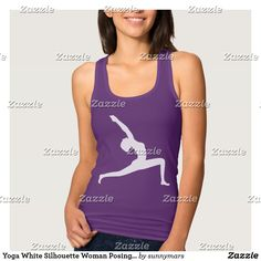 9d0e23285e33c Yoga White Silhouette Woman Posing Ladies Tank Top Shop Dress Up