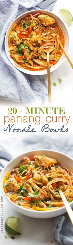 20 Minute Panang Curry Noodle Bowls - A quick, easy, and healthyish recipe for curry noodles topped with your favorite veggies. Comfort in a bowl! (Note: Add some chili peppers to kick up the spice level)