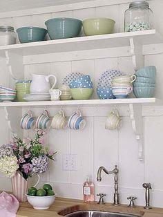 Open shelving for cottage kitchen storage Cozy Kitchen, Kitchen Shelves, Open Kitchen, Kitchen Storage, Kitchen Decor, Kitchen Ideas, Kitchen Colors, Kitchen Inspiration, Kitchen Sink