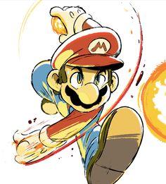 Smash Bros Sketches: Mario by Tyson Hesse