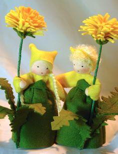 Wool-felted, Waldorf-Inspired Little Girls 'DANDELION' Flower Fairy Children ................................................................................................ by KatjasFlowerFairys | Etsy
