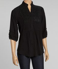 Black Crocheted Button-Up Top on #zulily! #zulilyfinds/ looking for white/ Reborn collection