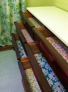 Mod Podge dresser drawers - for the dresser im refinishing
