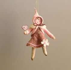 Spun Cotton Ornament - Valentine's Girl Paula - Plumpuppets by PlumPuppets on Etsy https://www.etsy.com/listing/262253767/spun-cotton-ornament-valentines-girl