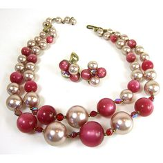 Vintage 1950's costume jewelry pink moonglow earrings necklace
