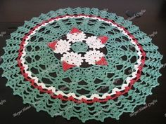 Crochet Christmas Santa Table Cloth