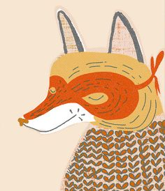 mr. fox, part of the animal quilt design for surface pattern/textile design by mummysam